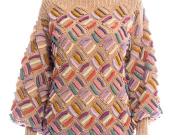 1980s 3d Print Hand Knitted Sweater Size: M