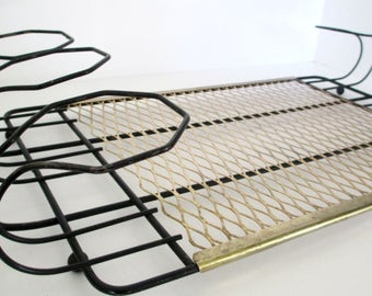 Mid Century Black Wire and Gold Diamond Steel Mesh Tray/Glass Caddy