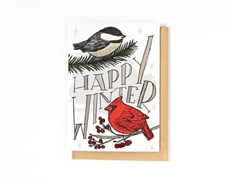 Happy Winter Card - Christmas Greeting Card - Merry Christmas Card - Happy Holidays Card - Chickadee - Cardinal - Illustration