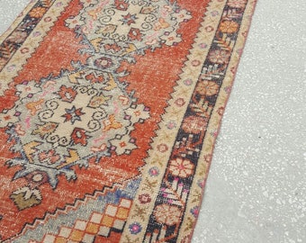 Vintage Oushak Runner / 3 by 10 / Muted / Boho / Copper-Blue / Low-Pile / Medallion Runner - 115 in x 38 in