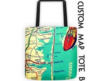 Custom Map Tote Bag, Map Beach Bag, Summer Outdoors Tote Bag, Travel Her, City Bag, 15x15 Summer Outdoors Beach Bag Tote, Travel Her Gift