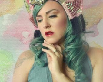 Shabby chic floral beaded rose kokoshnik headdress tiara crown fringe headpiece fascinator hat headdress fashion accessory