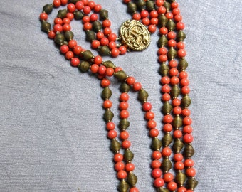 60s Castlecliff Coral and Brass Necklace