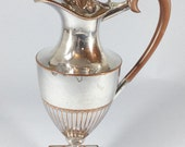 RESERVED Antique WMF silver plate claret jug, EPNS wine water ewer pitcher, Epns on copper, Classical style, Square base
