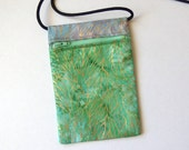 Pouch Zip Bag GREEN Mauve Batik Fabric.  Great for walkers, markets, travel. Cell Phone Pouch. Small Fabric Purse - smooth batik gold accent