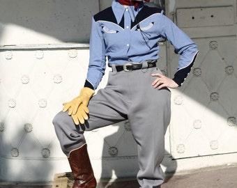 """1940s original 1947 """"Rodeo Sweetheart"""" champion western wear blouse, two tone gabardine MINT by J Bar T"""