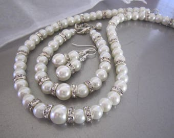 Bridal Pearl Jewelry Set, Single Strand Pearl and Rhinestone Necklace Bracelet Earring Set 3 Piece Pearl Bridal Set Ivory or White Pearl Set
