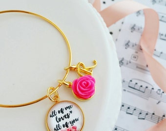 gold stackable bangle bracelet / all of me loves all of you / jewlery for her gift