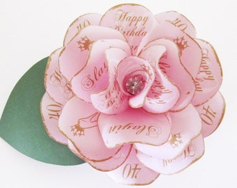 Pink and Matte Gold Paper Rose Birthday  Magnet Invitation with Clear Crystal Center for Shower 40th Birthday Quinceanera, Sweet 16