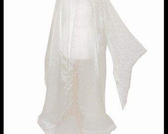 Beautiful White Shimmer Organza Cloak with Sleeves. Ideal for a Summer Wedding, Handfasting or Medieval Event. Made Especially For You.