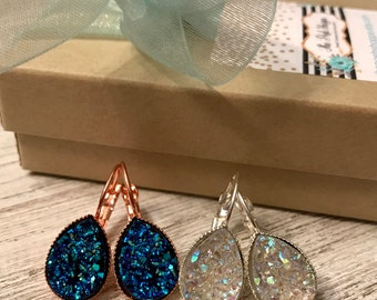 Teardrop Druzy Dangle Earrings Set of 2 Pairs , Black, Antique Gold, White, Opal, Gold, Bridesmaid Gift, Mother's Day