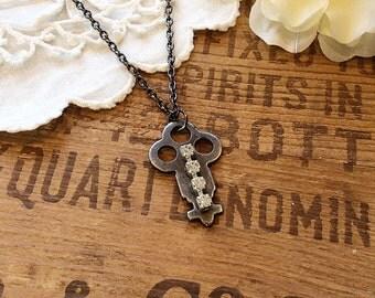 Embellished Vintage Key Necklace - rhinestone necklace upcycled assemblage necklace