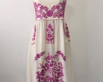 Embroidered Mexican Sundress Cotton Strapless Dress, Beach Dress, Beach Cover Up, Boho Dress