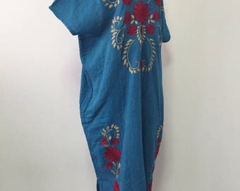 Handmade Embroidered Dress Cotton Maxi Dress, Long Cotton Dress In Blue