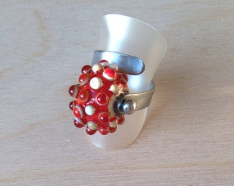 RED glass bead ring / Glass bead ring RED