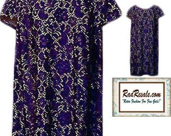 Purple Lace Dress with Cap Sleeves - Size Large to XLarge