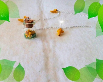 Necklace with glass vial pendant, polymer clay, handmade, glass bottle