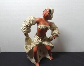 1960s Vintage Mid Century Caribbean Female Reggae Dancer in Chalk or Plaster, Dance Costume, Vintage Chalk Decor, 1960s Home Decor, Southern