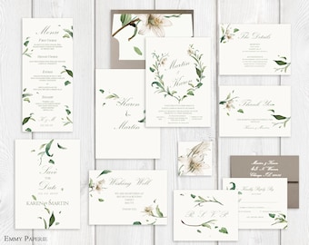 Greenery Wedding Invitation Printable Garden Wedding Invitation Suite, Botanical Wedding Invite Set, Leaf Wedding Invite, Spring Summer
