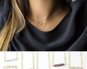 Simple Birthstone & Open Circle Necklace Layering Necklaces Set Gift • Mini Gemstone Bar ...