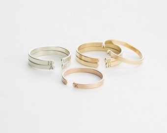Personalized Stacking Ring • Custom Initial Ring, Personalized with Hand-Stamped Letters • Stackable Personalized Rings • LR501