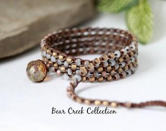 Crochet Jewelry, Bracelet, Long Necklace, Gold, Matte Opal, Bird Charm, Bohemian Jewelry, Wrap Bracelet, Seed Bead Bracelet