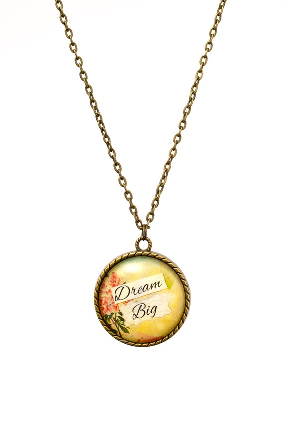 FREE SHIPPING - **NEW** Dream Big 30mm Bronze Lace Necklace - Unique - Vintage - Gorgeous Gift - Love