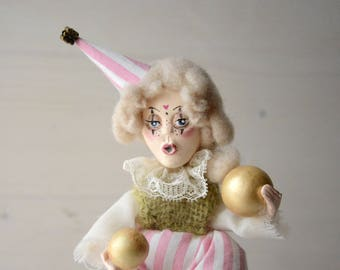 Clown dwarf circus art doll, shabby renaissance carnival juggler, weird paper clay and felt freak doll. Marie Antoinette's court figurine.