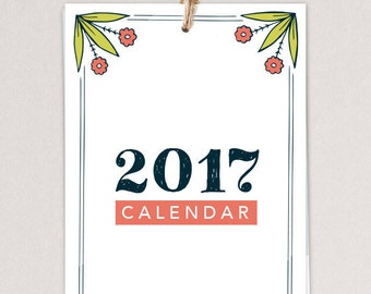 ON SALE - 2017 Calendar, folkart, hand-drawn, wall calendar