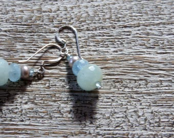 AQUAMARINE, PEARL EARRINGS- Natural faceted gemstones-silver freshwater pearl, cool aquatic hues of blue. March/October birthstone. Boho
