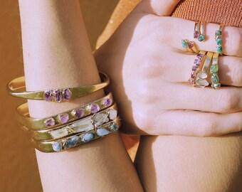 raw crystal cuff / raw amethyst bracelet / raw crystal bracelet / february birthstone / druzy bracelet / druzy cuff bracelet