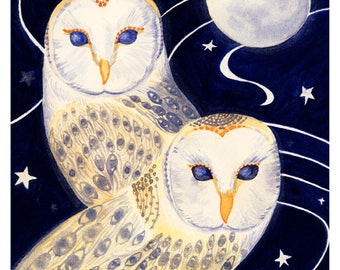 Two Barn Owls in Moonlight, Fine Art Print from a Watercolour Painting