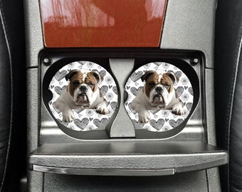 Car Coaster, Cup Holder Coaster, Coworker Gift, Custom Car Coaster, English Bulldog, Sandstone Coaster, Custom Car Coasters, Printed Coaster