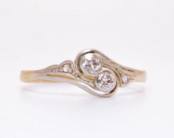 Antique Edwardian champagne diamond Toi et Moi Engagement Ring / Diamond Ring / 14k Gold Ring / Antique Diamond Ring / antique toi et moi