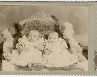 Cabinet Card Photo Victorian Babies Twins (?) on a Fur Rug Portrait - Fergus of Greenook, Dunbarton Scotland (Trompe L'oeil) - Antique