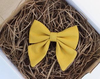 The Alice Bow - Handmade Fabric Schoolgirl Hair Bow Clip or Headband - Girls Mustard Yellow Hair Bow Headband