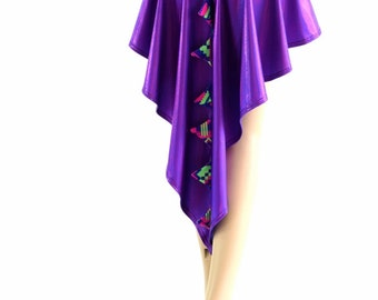 Dragon Tail Skirt in Grape Purple Holographic with Lime and Purple Aztec Spikes & Hi Lo Hemline 154116