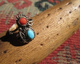 Vintage Turquoise, Coral and Sterling Silver Feather Ring Size 8.5
