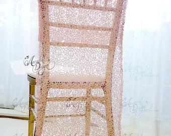 Pink Rose Crochet Lace Bridal Chair Slipcover | Rosette Chiavari Chair Decor for Brides Bridal Shower Bachelorette Party Sweet 16 Birthday