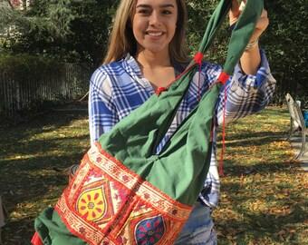 Boho bag,green cotton purse,bag,Embroidered purse,shoulder bag,hippie bag,orange,gold,fringe,tassles