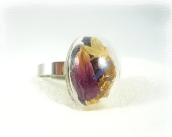 Ring with dried flowers