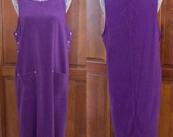 Vintage 90s Denim & Co Purple Jumper Dress with Pockets/ Medium-Large