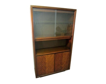 Mid-Century Danish Modern Walnut Sliding Glass Door Bookshelf/Cabinet