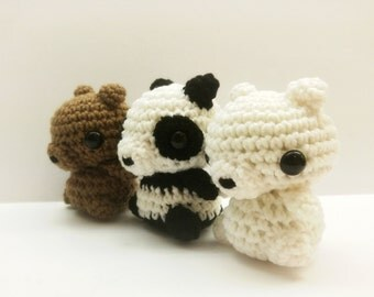 We Bare Bears Crochet Chibi Mini Plushies - Choose One, Two, or All Three