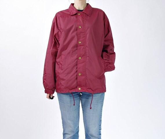 SALE - 90s Moose Sport Outdoor Burgundy Nylon Coach Jacket / Size M