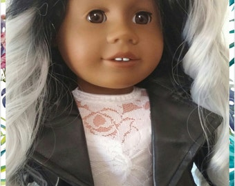 One Of A Kind Custom American Girl DOLL with silver hair and clothing package