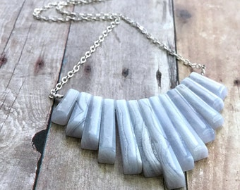 Blue Lace Agate Necklace, Blue Statement Neclace,  Natural Stone Jewelry, Long Sterling Silver Chain Bib Fan Necklace