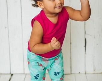 Grow with me pants, slim harem pants, flamingos, pink flamingos, palm, leaves, tropical, babies, toddlers, kids, cotton spandex
