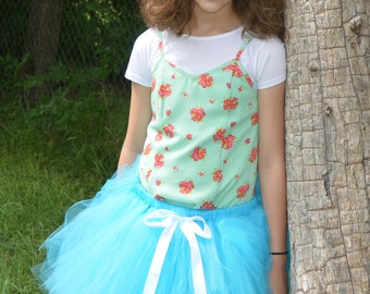 Turquoise Tutu, white satin ribbon, girl's tutu, baby tutu, newborn tutu, girls tutu, birthday tutu, Easter tutu, preemie tutu, adult tutu
