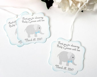 Elephant Baby Shower Favor Tags, Boy Baby Shower Thank You Favor Tag,  Elephant Baby